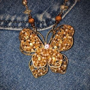 vintage butterfly beaded & geniune stone necklace